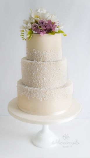 Lace and floral wedding cake