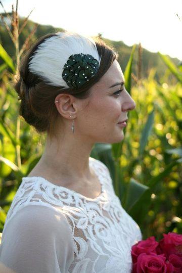 Celine - Feathered headpiece embellished with Swarovski crystals