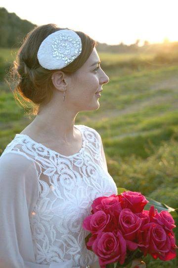 Etoile - Lace headpiece with Swarovksi crystal