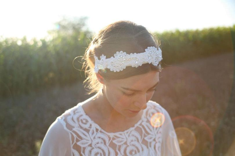 Joanie - Ivory headband with vintage 1960s lace embellished with Swarovski crystals
