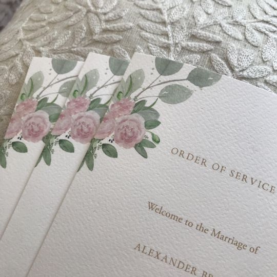 Texture Paper Order Of Service