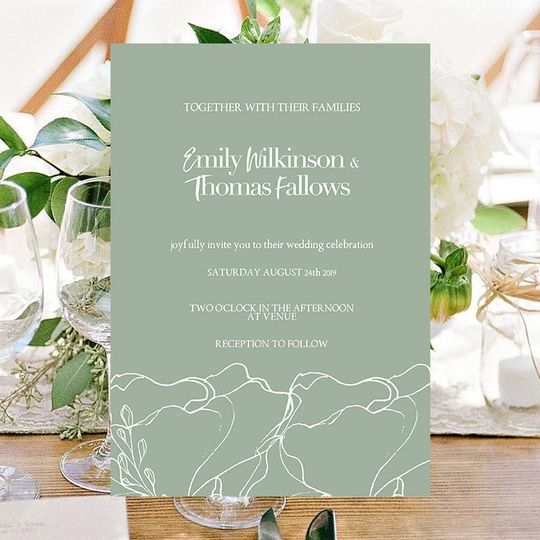 Sage wedding invitation
