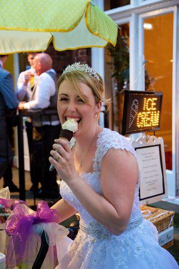 Newlywed enjoying an ice cream