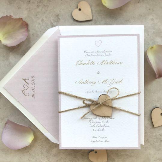 Wooden heart Invitation