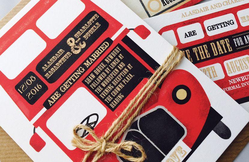 Vintage Red Bus Wedding Invite