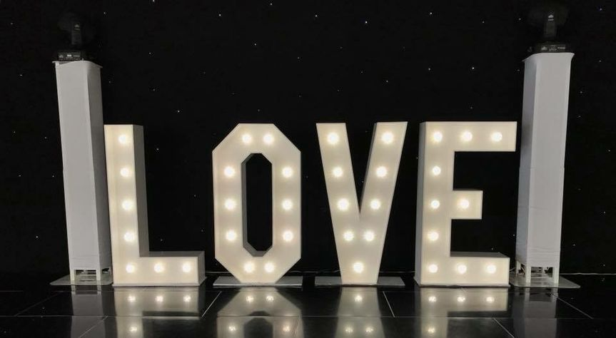 4ft Love Letters with Disco