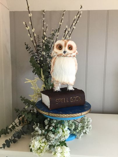 Spell book and owl celebration