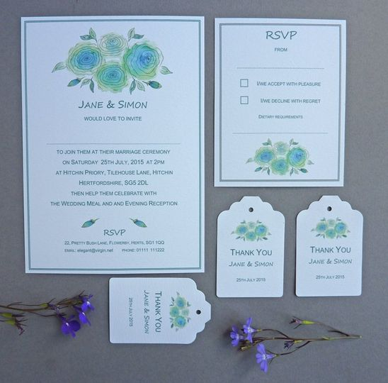 Blue~Green Floral Invite