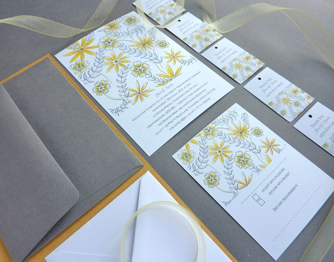 Grey & Yellow Floral