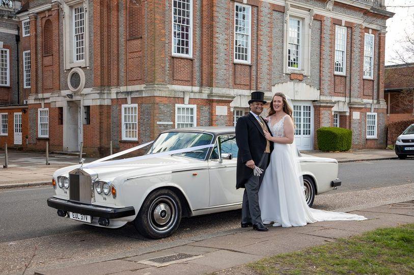 Bride & groom, Rolls Royce