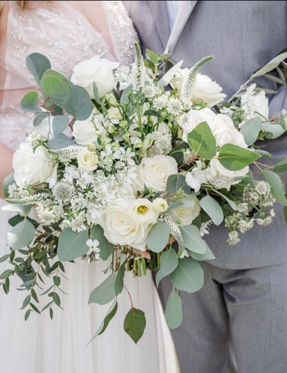 A palette of whites and greens
