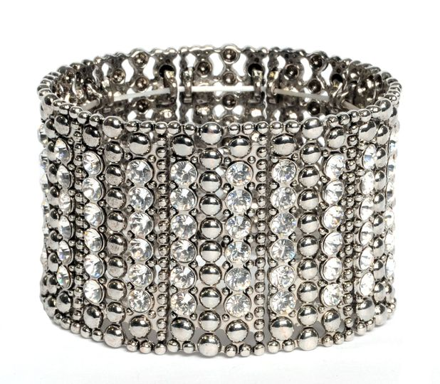 Eye Catching Wide Crystal Stretch Bracelet