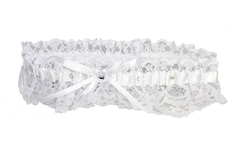 White Lace Garter with Satin Bow and Scattered Crystals