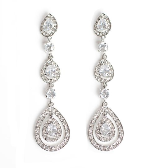 Vintage Long Drop Earrings with Glass Crystal Stones