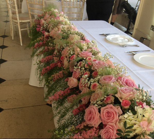 Luxurious garland for the Top table at Kew Gardens