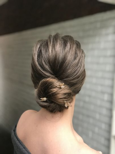 Chignon with hair pins