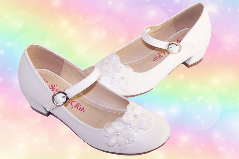 Girls White PU Heeled Bridesmaid Shoes