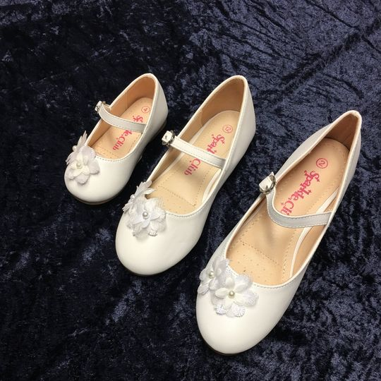 White flower girl shoes from tiny tot to older girl