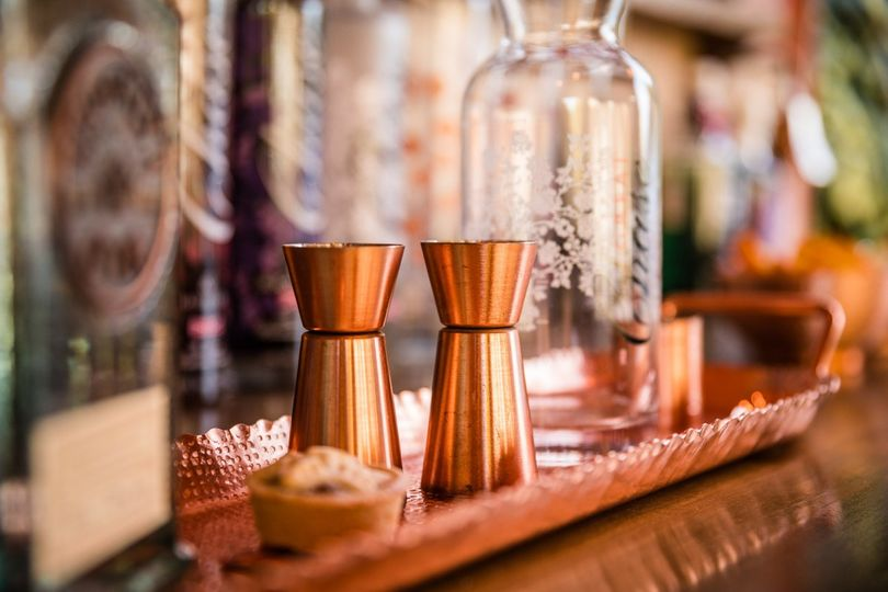Our bar area, copper and wood.