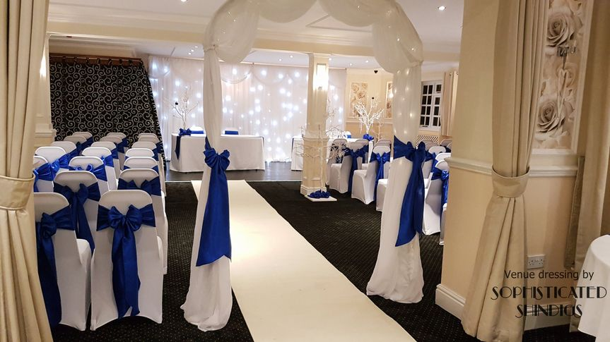 Royal blue wedding ceremony.