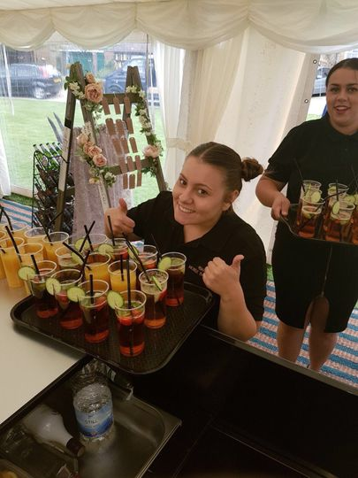 Pimms on arrival