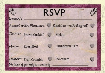 Rsvp menu black & pink