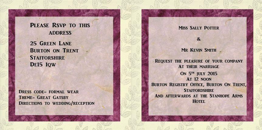Wedding insert black & pink