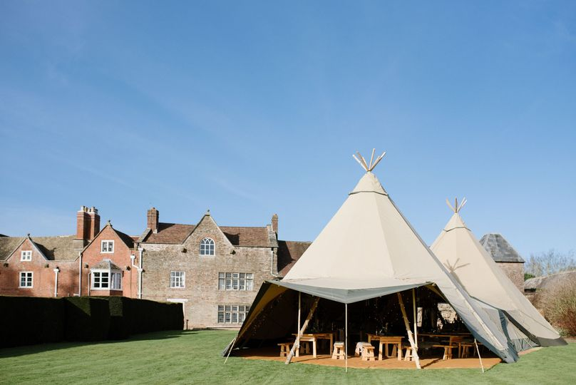 Large tipi on the lawn