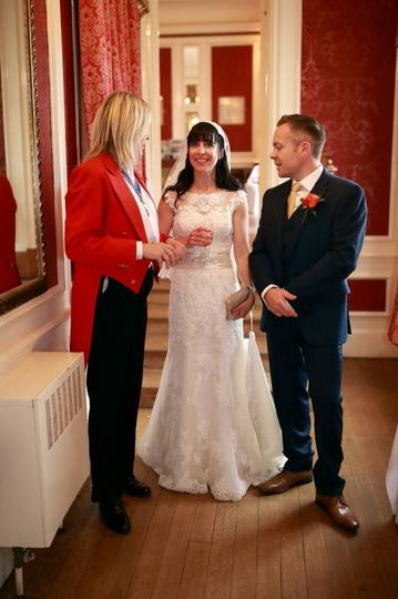 Talking with the bride and groom