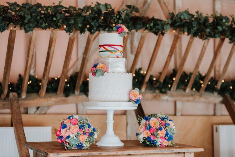 Geometric and silver cake