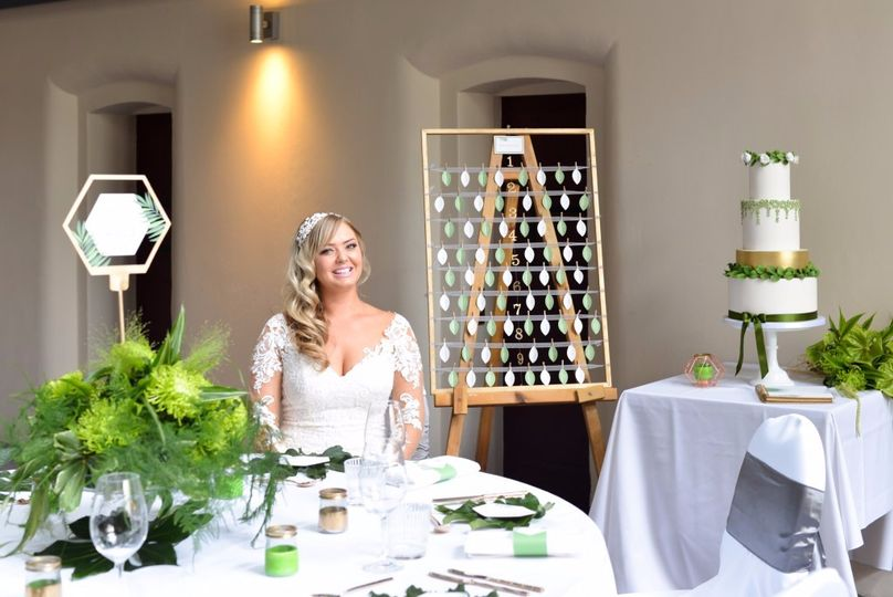 Green and gold wedding