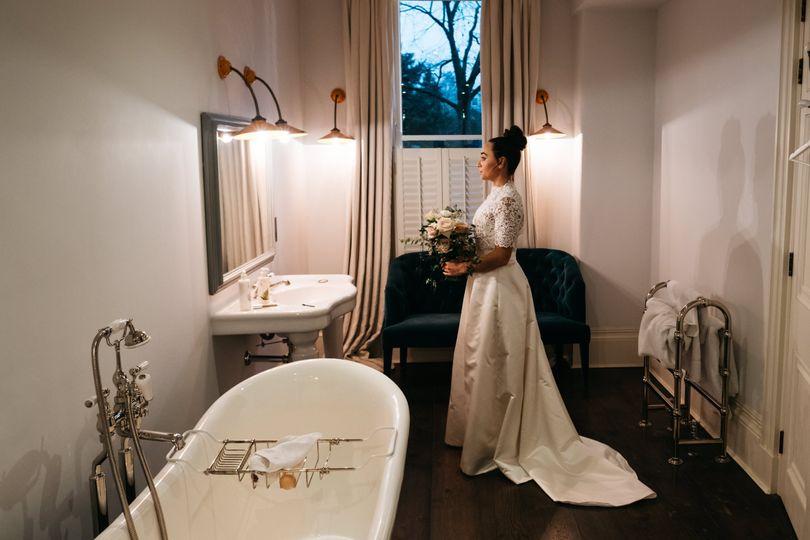 Real Bride Hannah wearing Bespoke Lisa Lyons Bridal