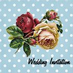 Vintages Rose With Polkadots Wedding Invitation
