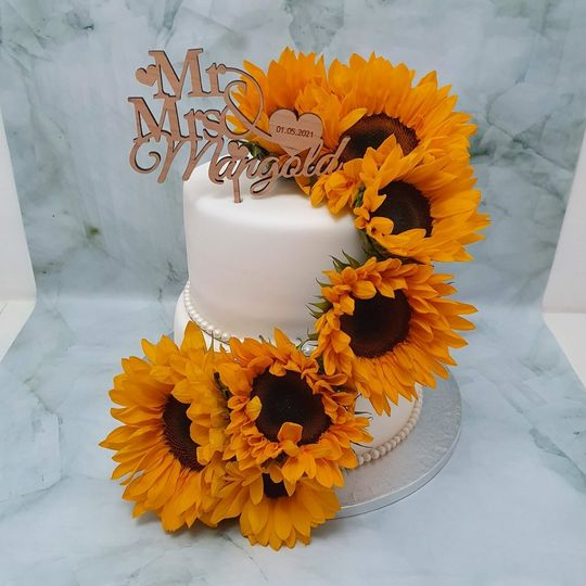 sunflower and pearl wedding cake delivered milton keynes marie makes 4 281054 162332347164622