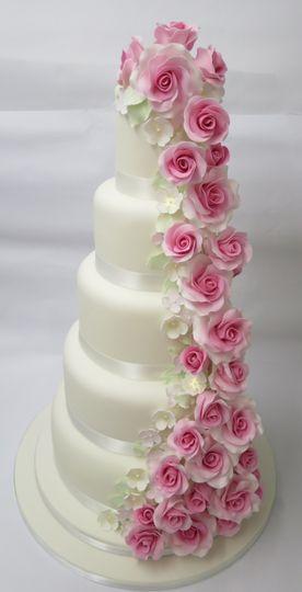 Rose cascade cake