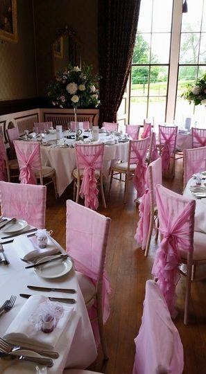 Limewash Chair with Pink Ruffle Hood