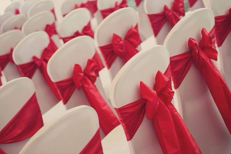 Red Taffeta with White Chair Cover