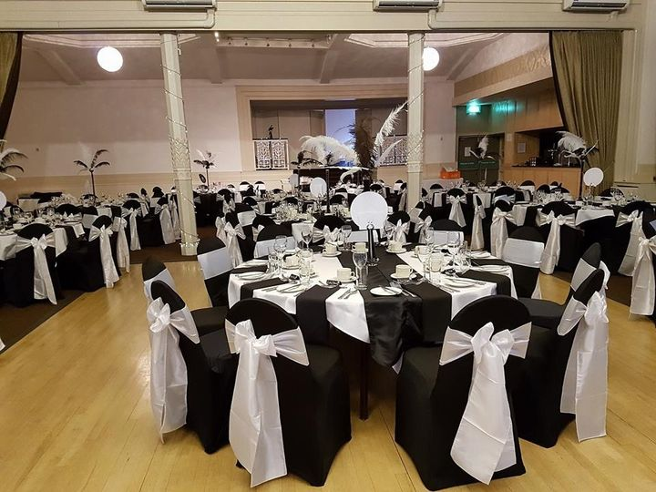 Black Chair Covers With White Taffeta