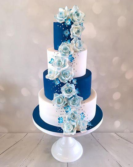 Royal blue with sugar roses