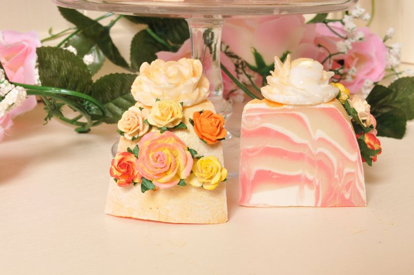 Wedding favour soap cakes