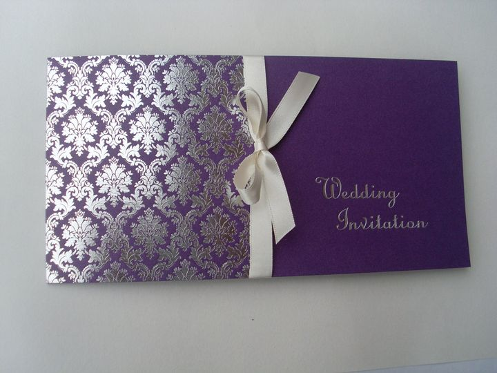 Purple Cheque Book Invitation