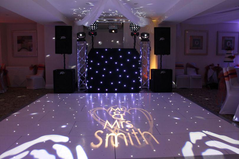 Monogram dance floor lighting