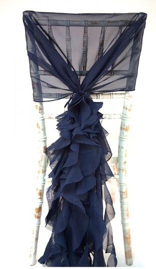 Navy ruffles, also in ivory