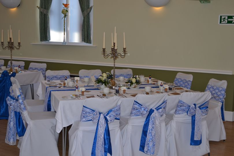 Royal blue with hessian