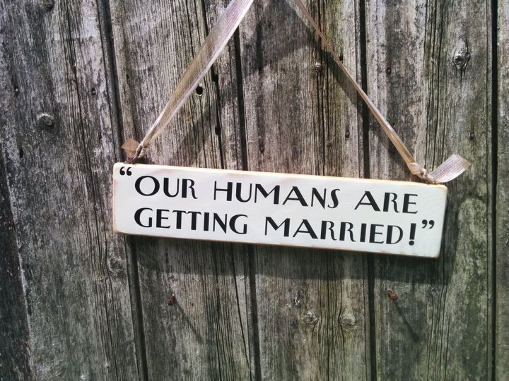 Getting married sign