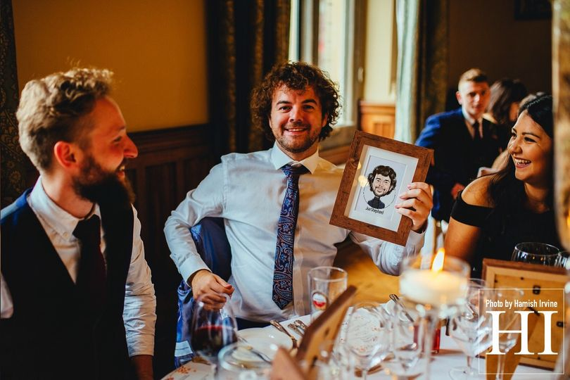Guest with their caricature