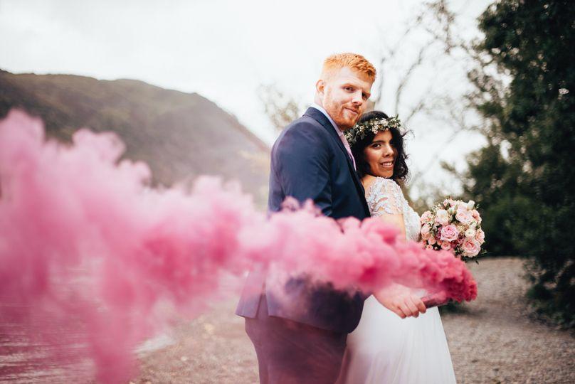 Pink smoke wedding photo
