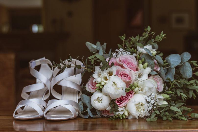 Peonies, Roses, Freesia and Foliage