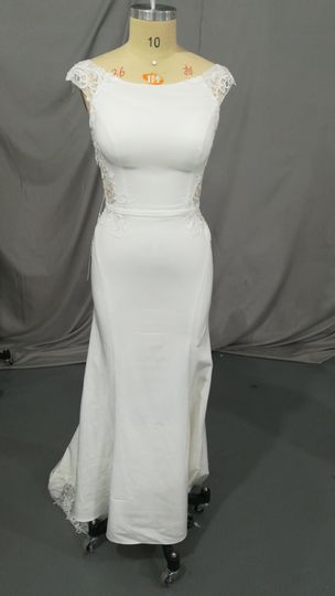 Fitted off-the-shoulder gown