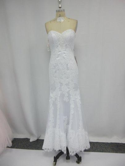 Bright white lace mermaid wedding dress